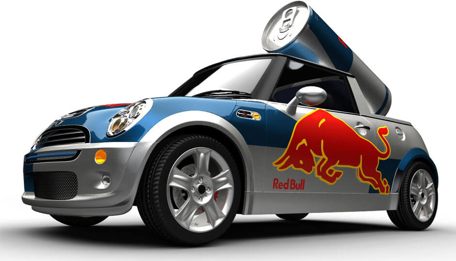 Red Bull Mini Coopers Caditup